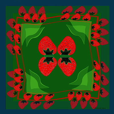 895 - Strawberry Fantasy Art Print by Irmgard Schoendorf Welch