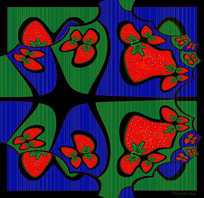 Strawberries Digital Art - 898 - Strawberry Deco by Irmgard Schoendorf Welch