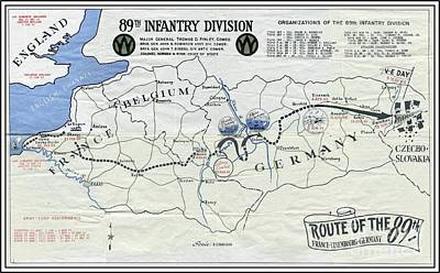 Mixed Media - 89th Infantry Division World War I I Map by Marilyn Smith