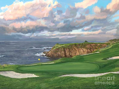 Painting - 8th Hole Pebble Beach by Tim Gilliland