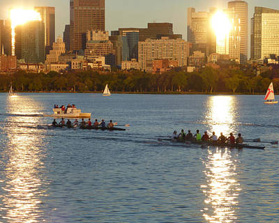 Photograph - 8x10 Charles River Rowers Sunset. by Toby McGuire