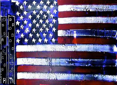 Special Occassion Painting - 9-11 Flag by Richard Sean Manning