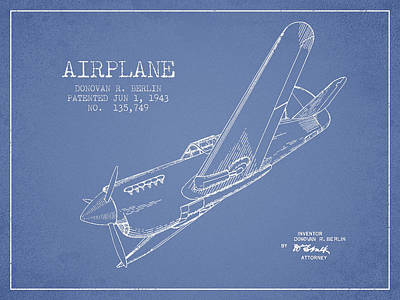 Airplane Patent Drawing From 1943 Art Print by Aged Pixel