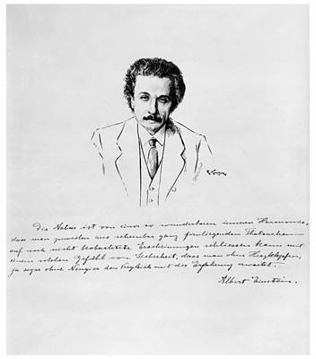 Einstein Drawing - Albert Einstein (1879-1955) by Granger