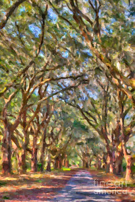 Digital Art - Allee Of Oaks Path by Dale Powell