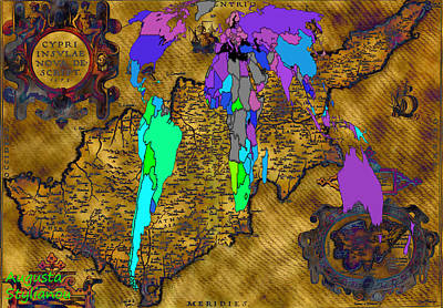 Buy Digital Art - World Map And Ancient Cyprus by Augusta Stylianou