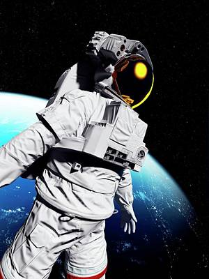 Astronaut In Space Art Print by Sciepro/science Photo Library