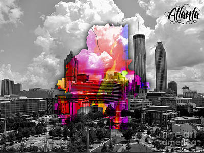 Atlanta Map And Skyline Watercolor Art Print by Marvin Blaine
