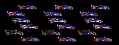 Digital Art - 9 Audis And 9 Peugeots by Asbjorn Lonvig