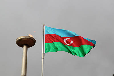 Flagpole Photograph - Azerbaijan, Baku by Alida Latham