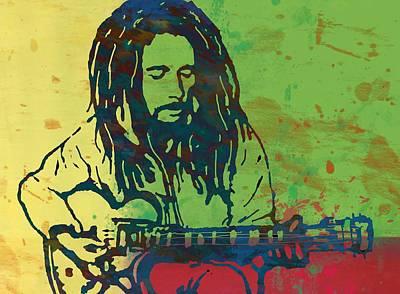 Bob Drawing - Bob Marley Stylised Pop Art Drawing Potrait Poser by Kim Wang