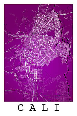Cali Digital Art - Cali Street Map - Cali Colombia Road Map Art On Colored Back by Jurq Studio