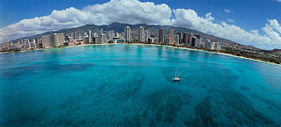 Buildings At The Waterfront, Honolulu Print by Panoramic Images