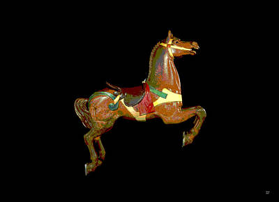 Wooden Platform Mixed Media - Carousel Horse by Charles Shoup