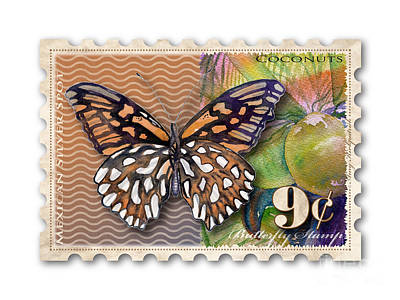 Painting - 9 Cent Butterfly Stamp by Amy Kirkpatrick