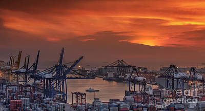 Container Cargo Freight Ship With Working Crane Bridge In Shipya Art Print by Anek Suwannaphoom