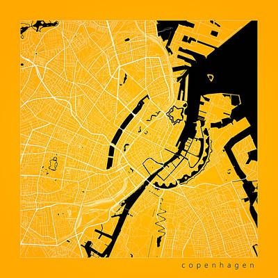 Denmark Digital Art - Copenhagen Street Map - Copenhagen Denmark Road Map Art On Color by Jurq Studio