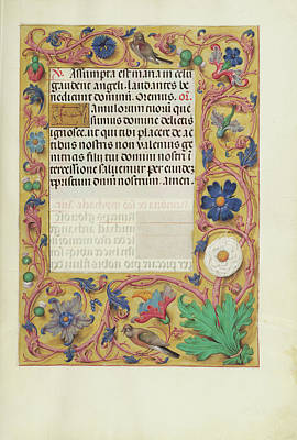 Belgium Drawing - Decorated Text Page Unknown Bruges, Belgium by Litz Collection