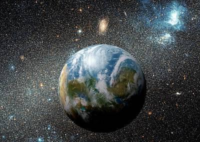 Extrasolar Photograph - Earth-like Alien Planet by Detlev Van Ravenswaay