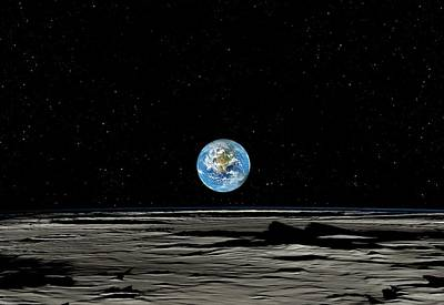 Earthrise Over The Moon Art Print by Detlev Van Ravenswaay