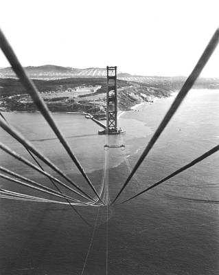 Progress Photograph - Golden Gate Bridge Work by Underwood Archives