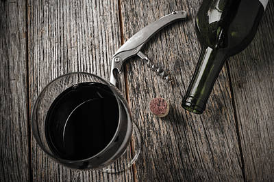 Wine Bottle Painting - Green Wine Bottle And Cork With Red Wine And Corkscrew by Brandon Bourdages