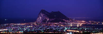 Pillars Of Hercules Photograph - High Angle View Of A City Lit by Panoramic Images