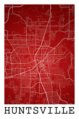 All You Need Is Love - Huntsville Street Map - Huntsville Alabama USA Road Map Art on C by Jurq Studio