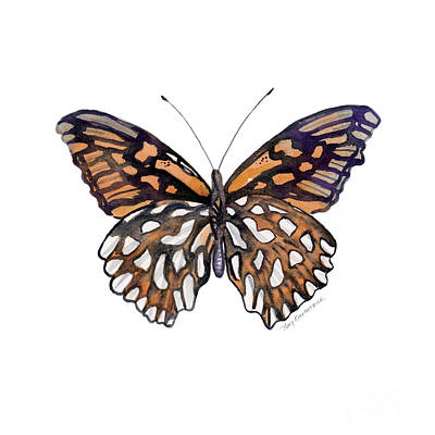 Fall Painting - 9 Mexican Silver Spot Butterfly by Amy Kirkpatrick