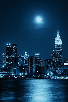 Vintage Pink Cadillac - Moon Rise Manhattan by Songquan Deng