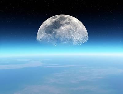 Moonrise Over Earth Art Print