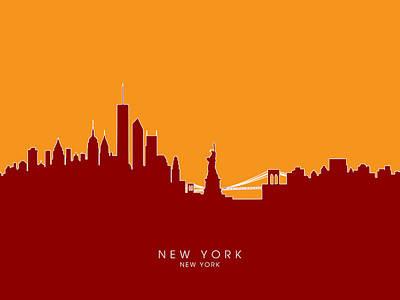 Food And Beverage Digital Art - New York Skyline by Michael Tompsett