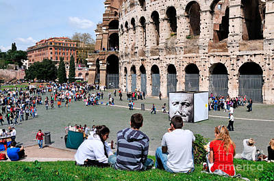 Lazio Photograph - Outside Colosseum In Rome by George Atsametakis