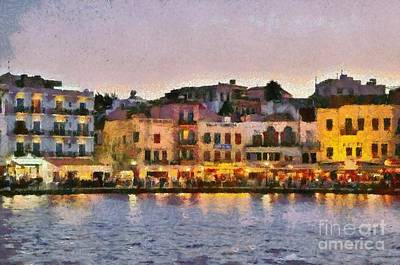 Painting Of The Old Port Of Chania Art Print by George Atsametakis