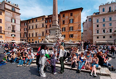 Teenagers Photograph - Piazza Della Rotonda In Rome by George Atsametakis