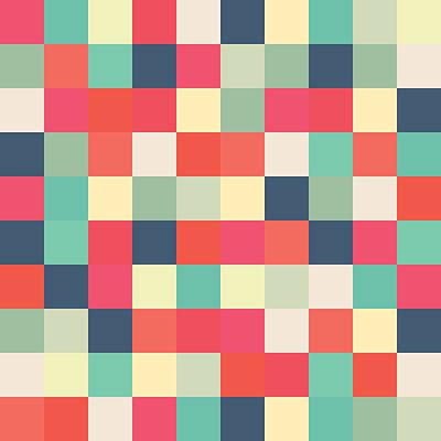 Pixel Art Square Art Print