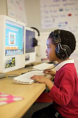 One Room School Photograph - Primary School Computer Lesson by Jim West