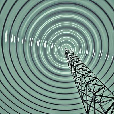 Radio Communications Tower Art Print by Russell Kightley