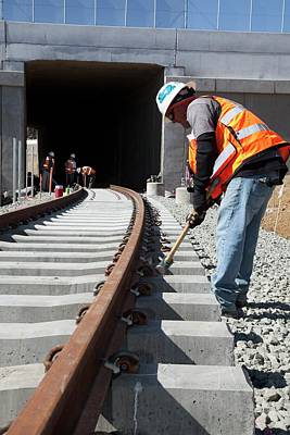 Train Tracks Photograph - Railway Construction by Jim West