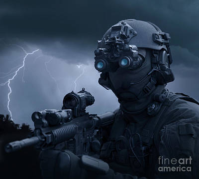 Lightning Bolt Photograph - Special Operations Forces Soldier by Tom Weber