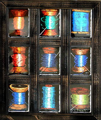 Art Print featuring the drawing 9 Spools by Joseph Hawkins