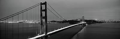 Suspension Bridge Lit Up At Dusk Art Print by Panoramic Images