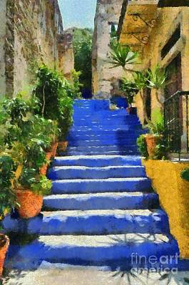 Staircase Painting - Symi Island by George Atsametakis