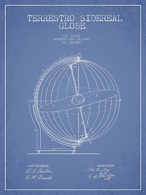 Antique Map Digital Art - Terrestro Sidereal Globe Patent Drawing From 1886 by Aged Pixel