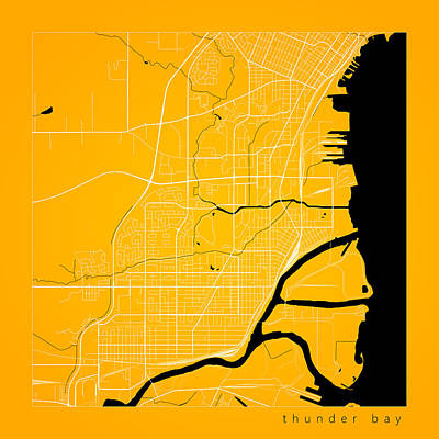 Sean Rights Managed Images - Thunder Bay Street Map - Thunder Bay Canada Road Map Art on Colo Royalty-Free Image by Jurq Studio