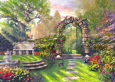Evening Digital Art - The Garden Gates by Dominic Davison