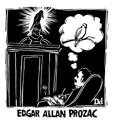 Thought Drawing - Edgar Allen Prozac by Drew Dernavich