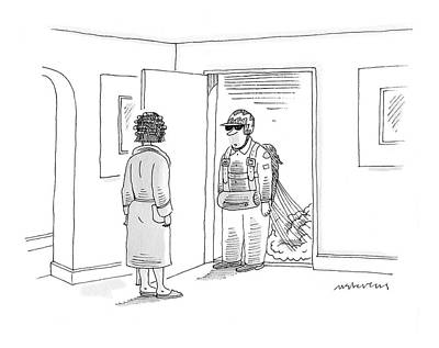 Entrance Door Drawing - New Yorker June 9th, 2008 by Mick Stevens