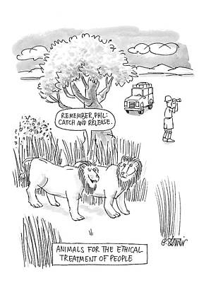 Lions And Tigers Drawing - New Yorker April 24th, 2000 by Peter Steiner