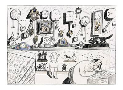 Clocks Drawing - New Yorker August 23rd, 2004 by Saul Steinberg